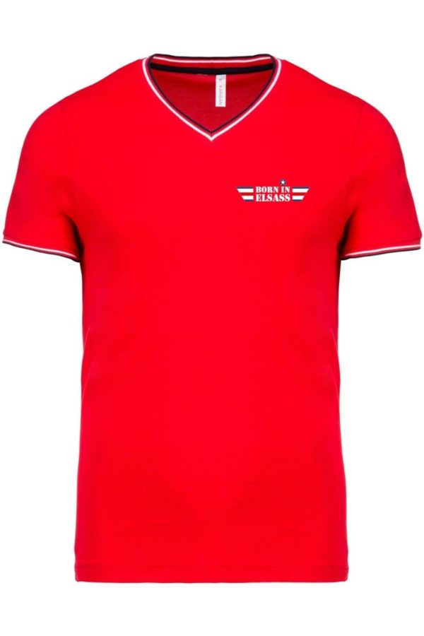 t-shirt homme born in elsass rouge maille piquée
